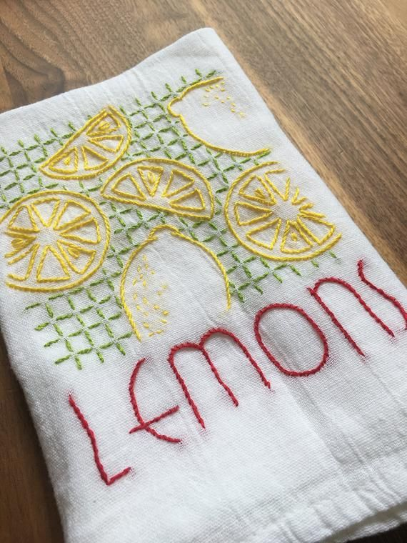 Vintage Fruit Embroidered Dish Towels - Lemons/Oranges ...