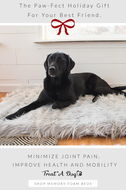 PupRug™ Faux Fur Orthopedic Dog Bed Rectangle Grey