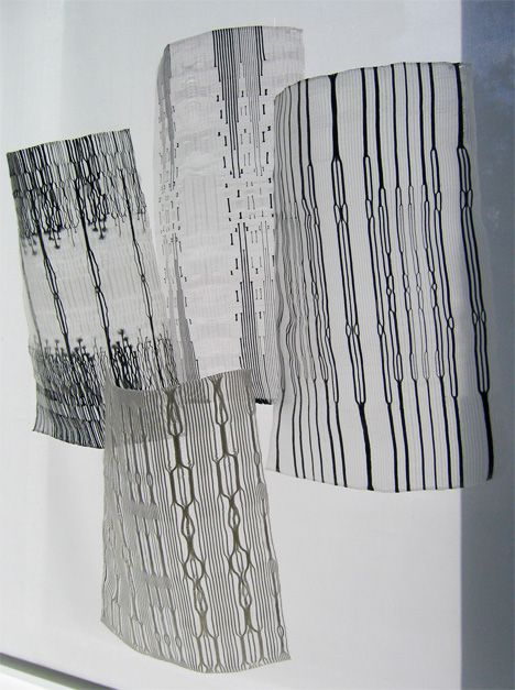 What if we could x-ray woven fabrics? Rita Parniczky's X-Ray Fabric visualizes this idea by making invisible layers of woven fabric visible using transparent mono-filament yarns.  .  reinventing_the_video_tape_aisha_ifitikhar_3.jpg