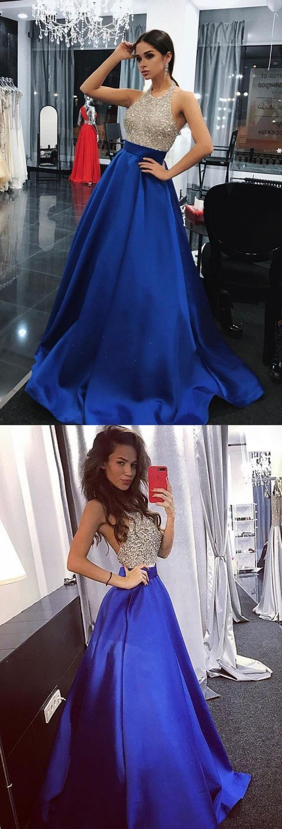 Royal blue and silver prom dresses prom dress evening dresses