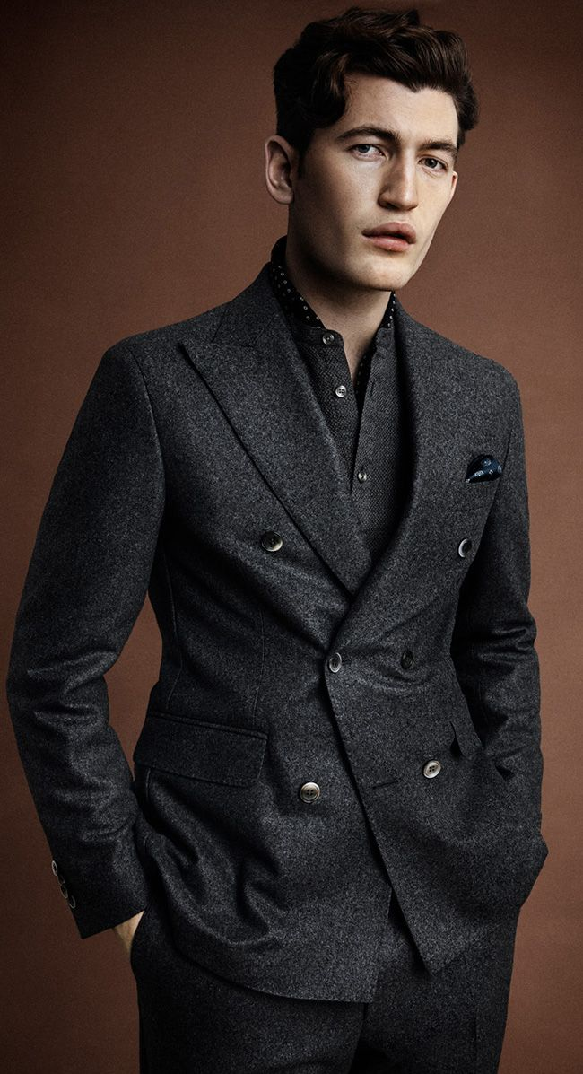Double breasted flannel suit. Oscar Jacobson lookbook A/W 17 ...