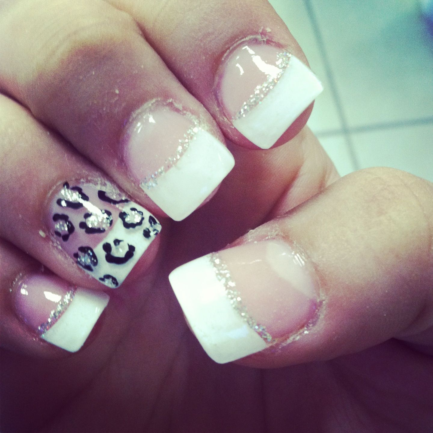 Prom Nails Cheetah French Tips Prom Nails Cute Nails French Nails