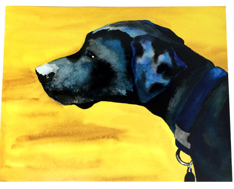 Black Lab Art Print, Dog Wall Art, Black Labrador Mix Watercolor ...
