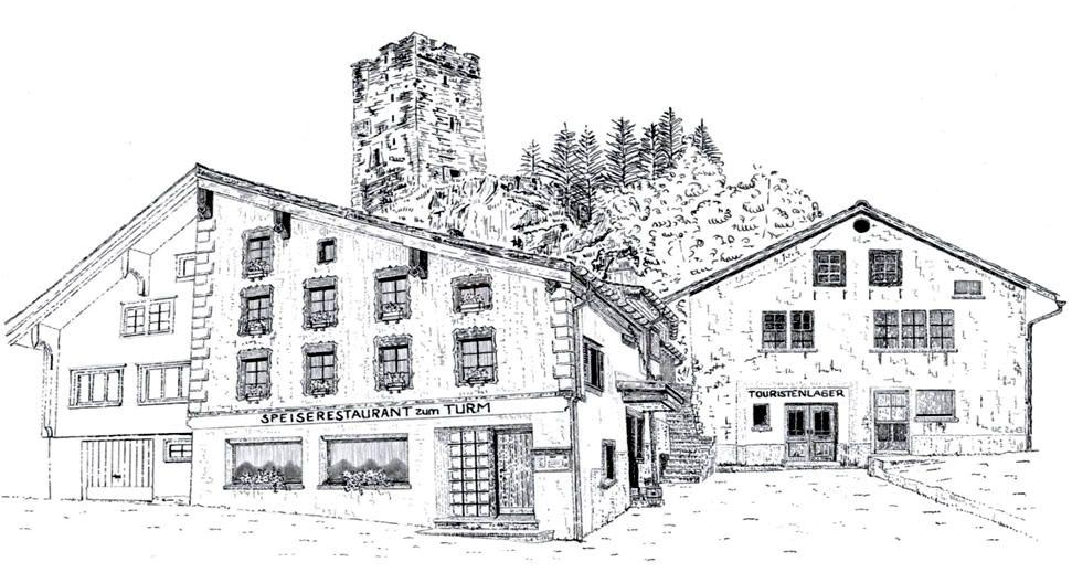 Gasthaus zum Turm, Hospental, Uri, Hotel, Touristenlager, Pizzeria, Hausspezialitäten