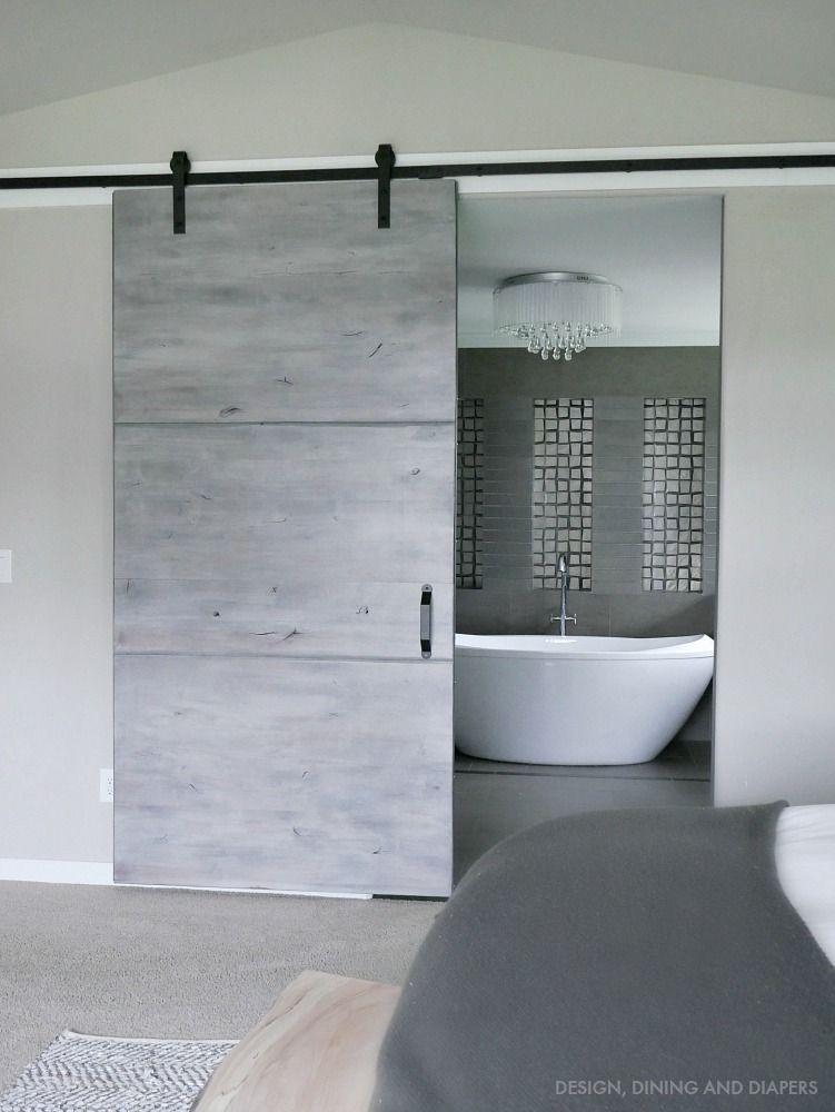 Modern Gray Barn Door Reveal Taryn Whiteaker Interior Barn Doors Modern Barn Door Door Design Modern