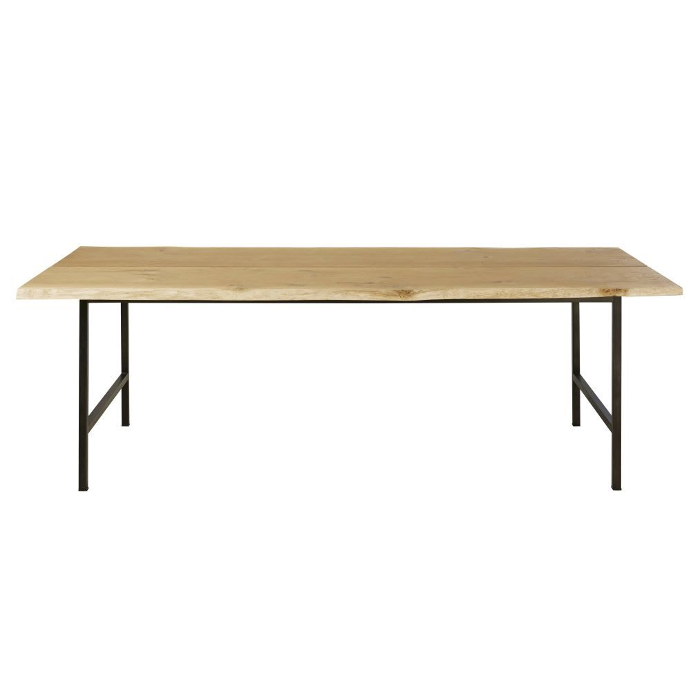 Solid Oak And Black Metal 10 Seater Dining Table W225 10 Seater