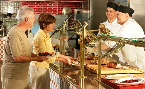 At the Garden Buffet, choose from Italian, Asian, American, and Southwestern cuisines along with a carving station, salad bar, and an array of desserts.