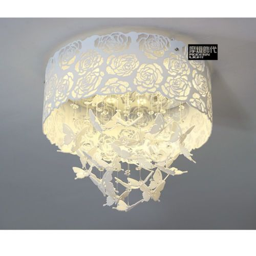 Modern Crystal Chandelier Butterfly Pendant Ceiling Light Fixtures ...