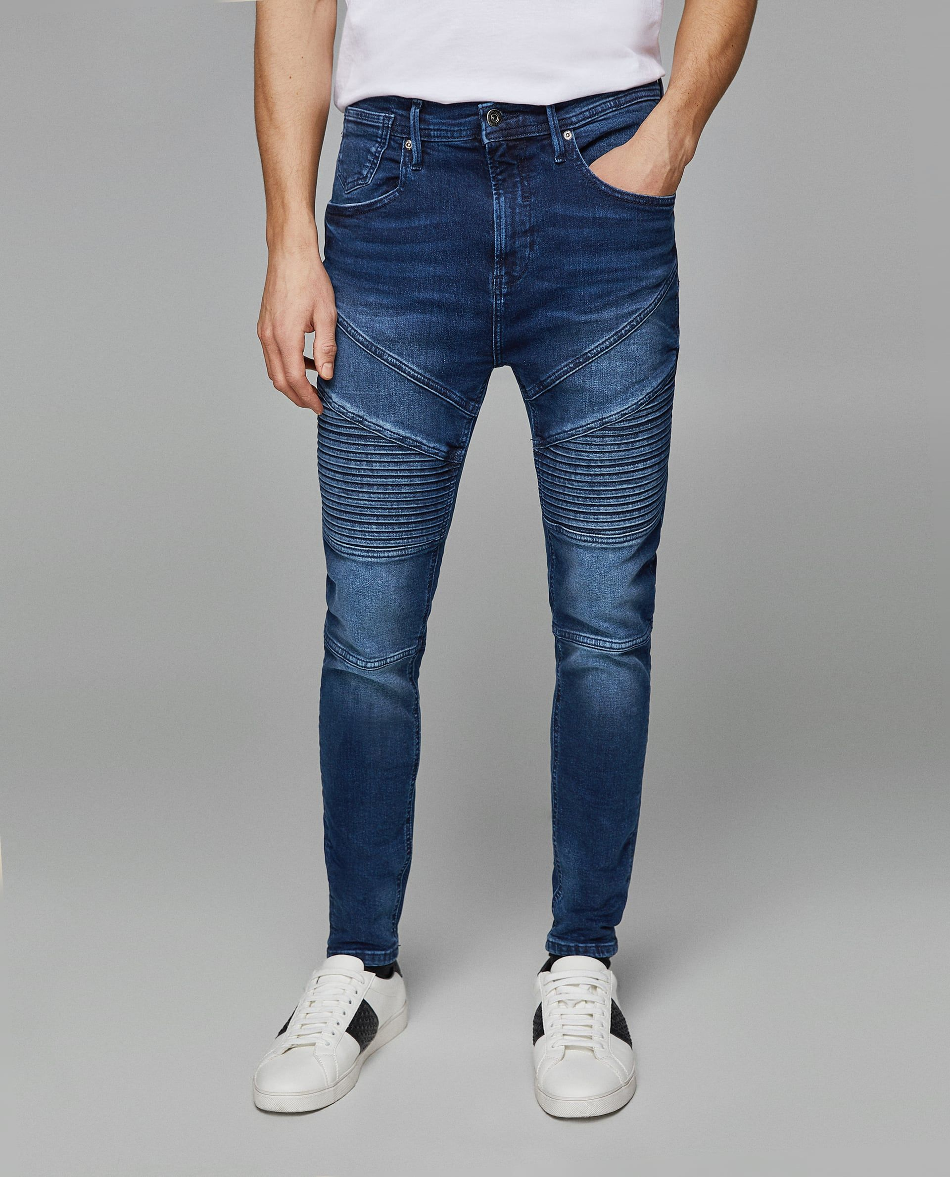 08c7ff6308930 BIKER JEANS WITH KNEE PATCHES | men s fashion | Biker jeans, Patched ...