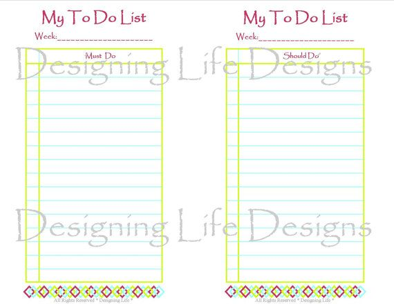 To Do List Printable  Mini Pages  Must Do Should Do Want To Do