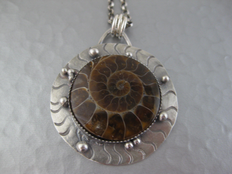 Ammonite sterling silver charm .925 x 1 Fossils charms Ammonites shells