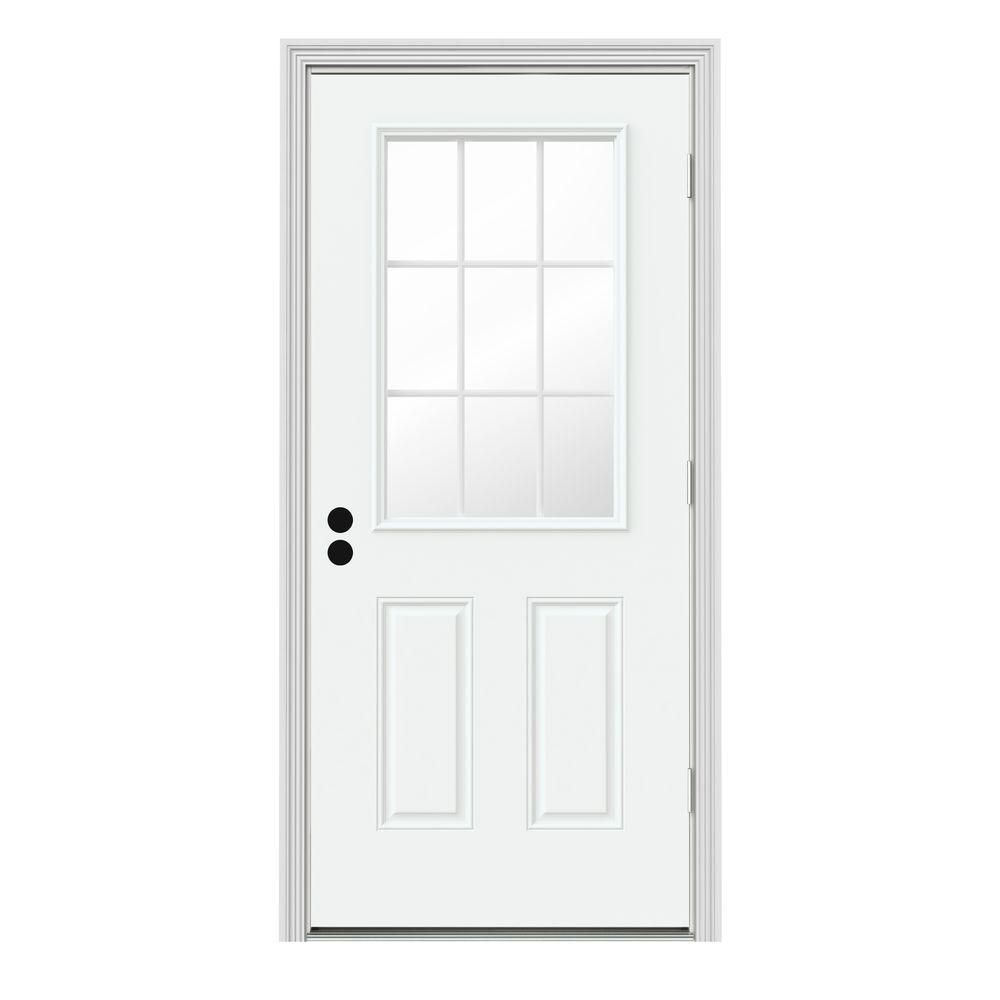 Jeld Wen 30 In X 80 In 9 Lite White Painted Steel Prehung Left Hand Outswing Back Door W Brickmould Thdjw184600085 The Home Depot Steel Entry Doors Front Door Jeld Wen