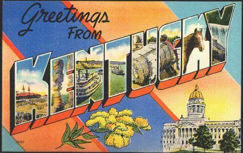Cherokee Park by Curteich Old postcard 1942 Louisville Kentucky linen textured paper card