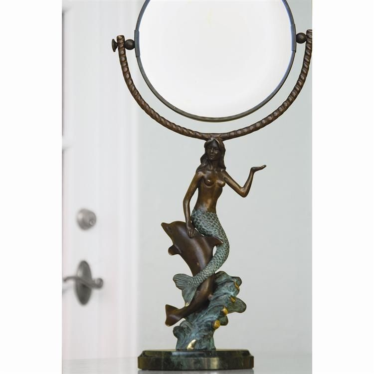 French Country Metal Mermaid and Dolphin Vanity Makeup Table Mirror,18.5''H.
