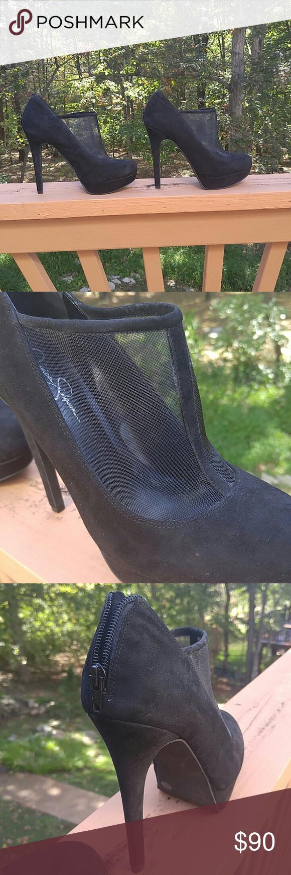 Jessica Simpson heels Black heels with nettingtype upper