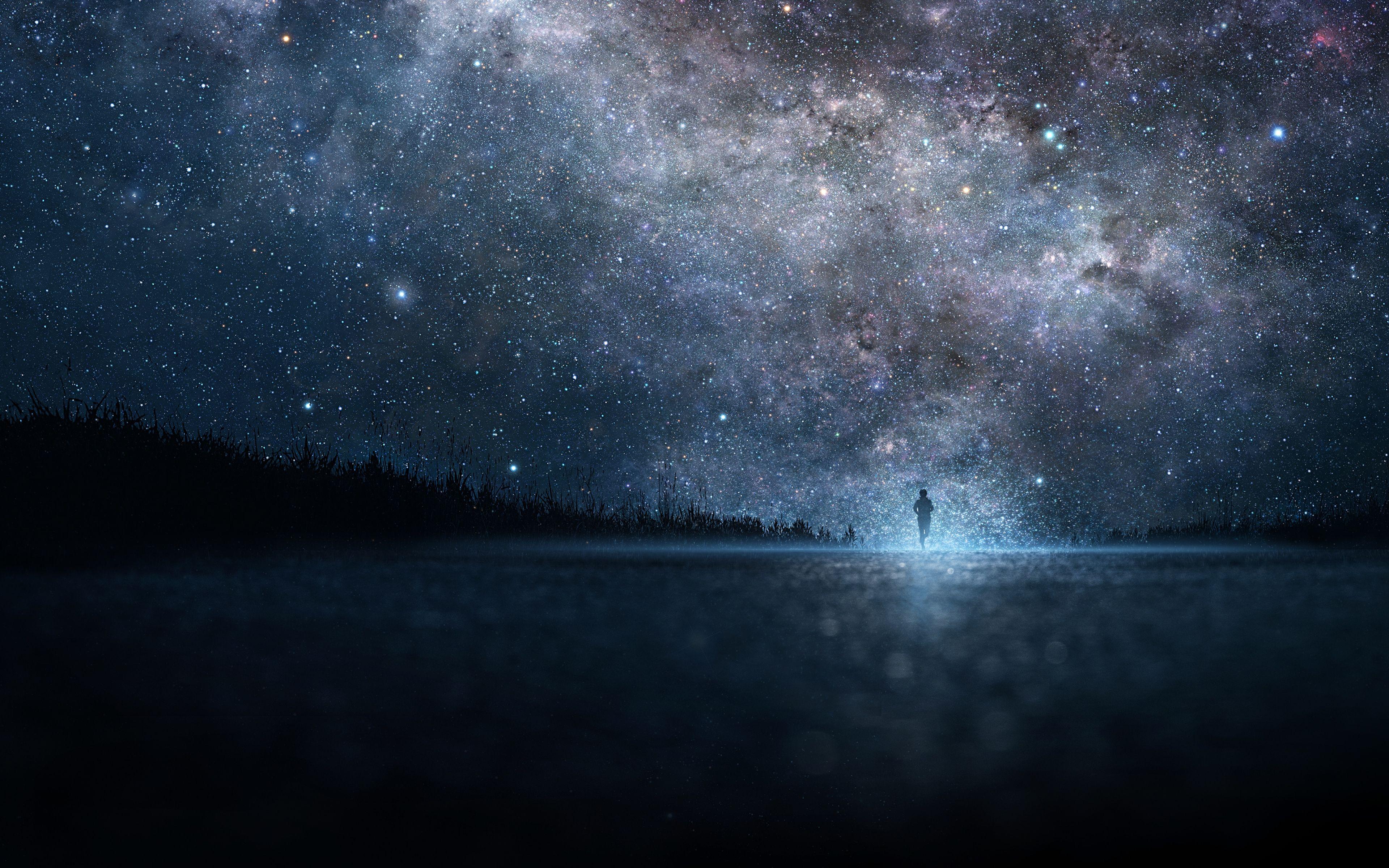 Nice 3840x2400 Wallpaper Star, Art, Sky, Night, People, Silhouette