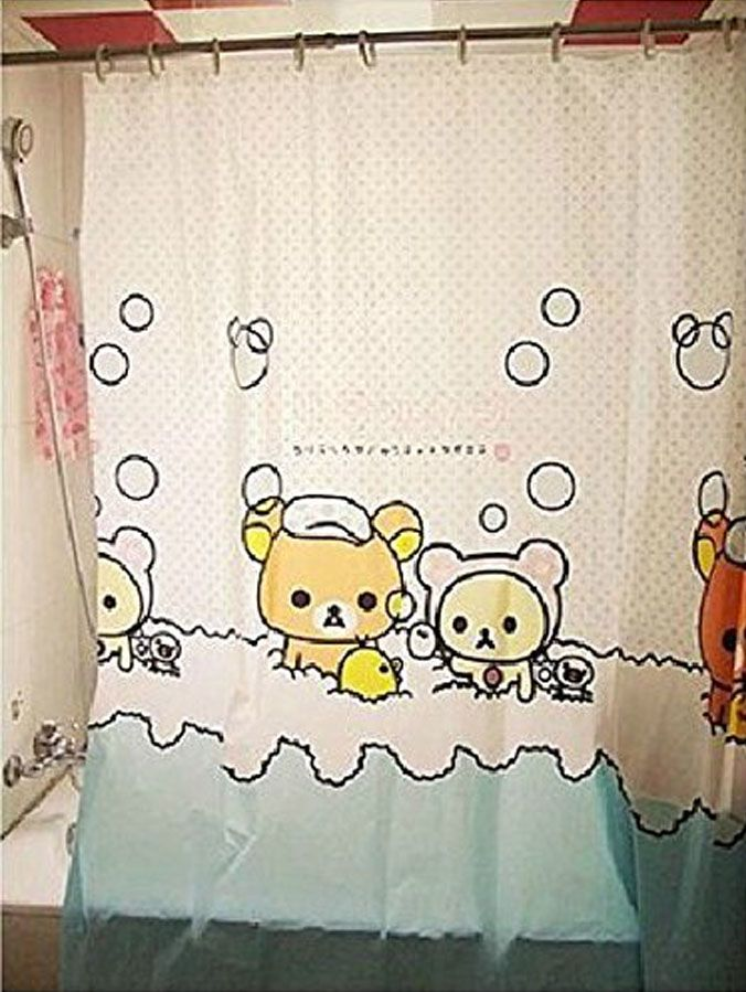Rilakkuma Shower Curtain Fabric Shower Curtains Shower Curtain