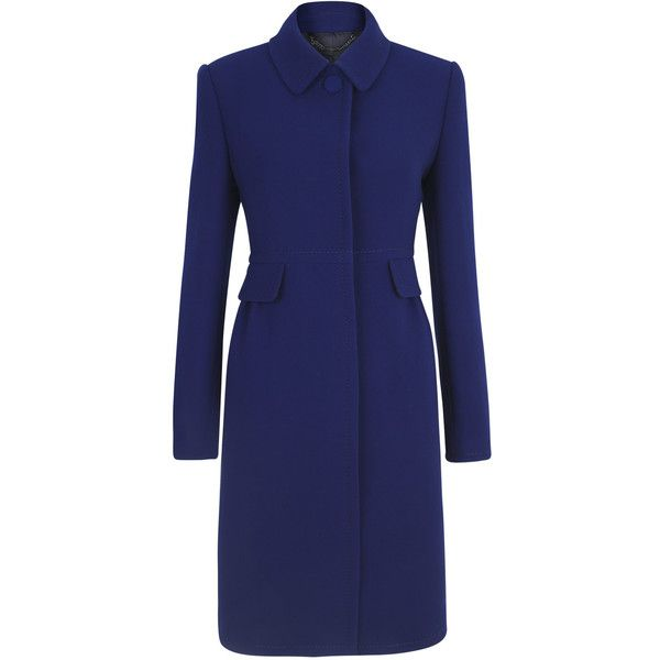 Jigsaw Princess Coat (€175) ❤ liked on Polyvore featuring outerwear, coats, jackets, blue, пальто, single breasted coat, blue coat and wool blend coat