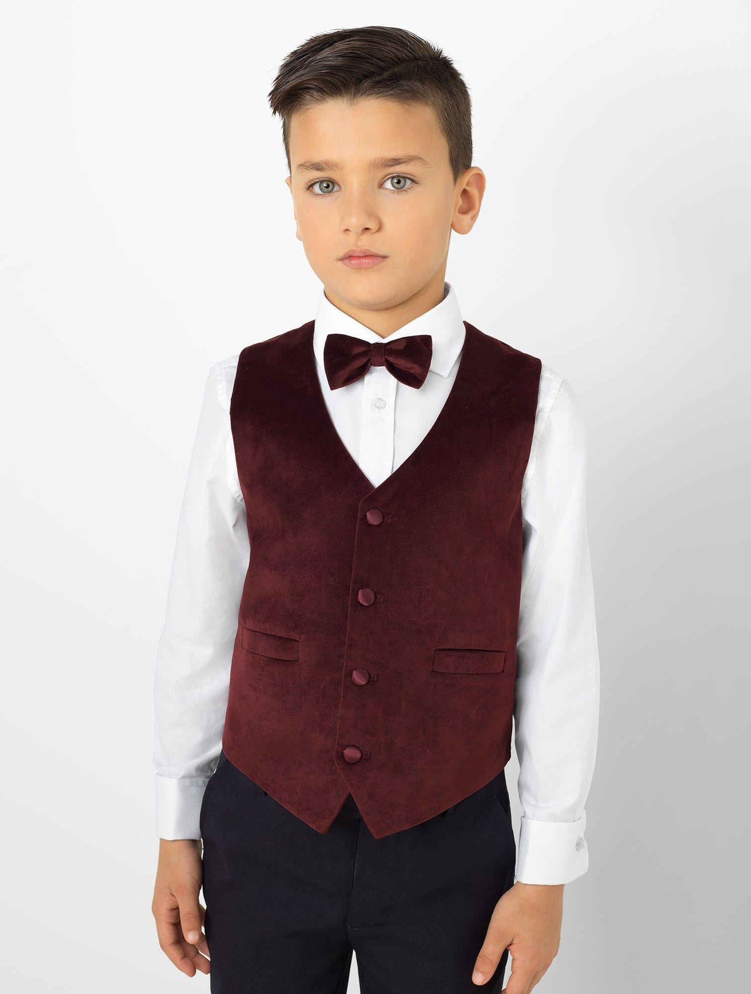 Boys burgundy waistcoat suit Oscar Boys wedding suits