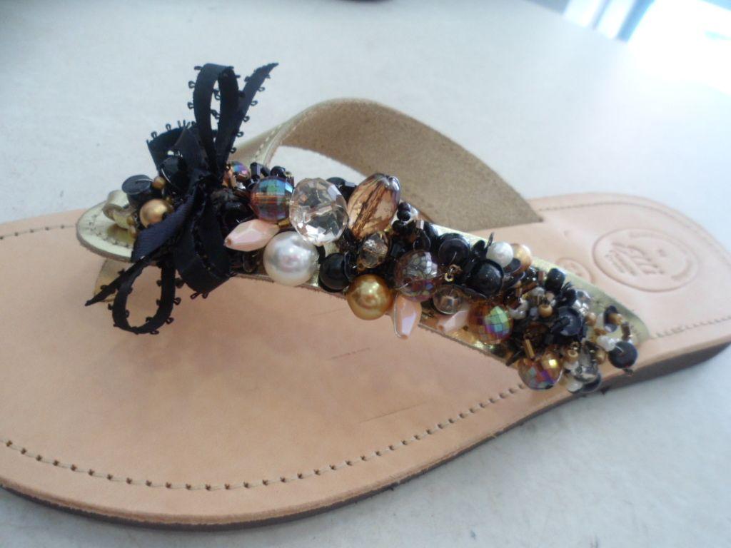 gold-black-salmon. handmade leather sandal by ellishoes.blogspot.com