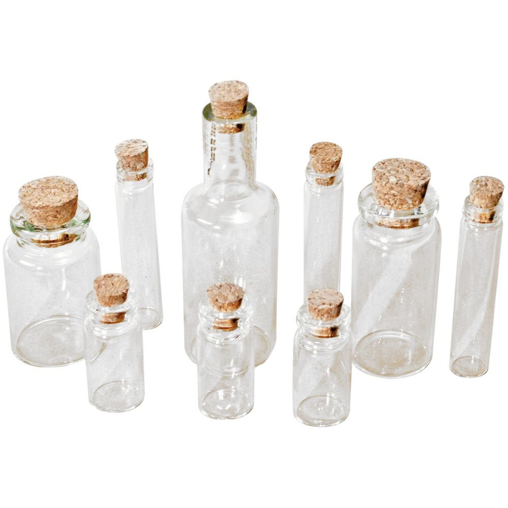 Tim Holtz Idea-Ology: 9 Tiny Clear Glass Vials/Bottles with Corks