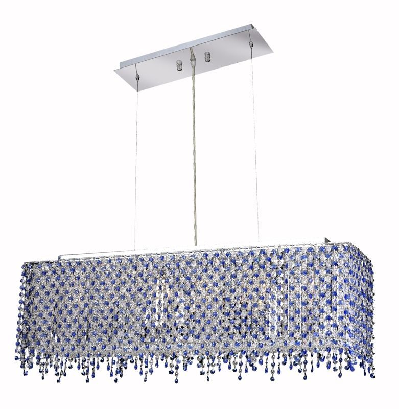 Elegant Lighting 1391D32C-SA Moda 6-Light Crystal Chandelier Finished in Chrome Swarovski Elements Sapphire Blue Crystal Indoor Lighting Chandeliers