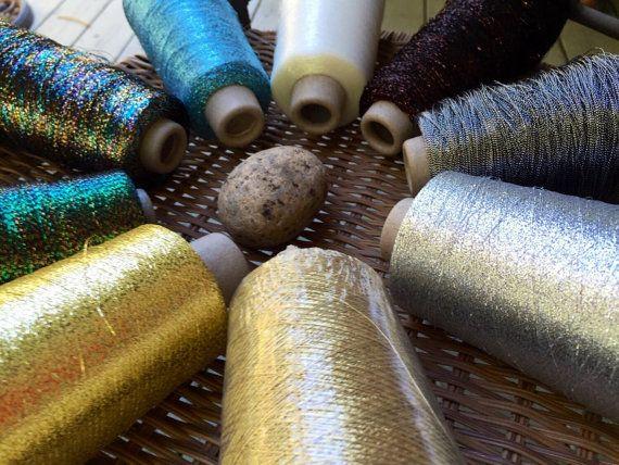 Metallic weaving  yarn 9 cone set by saorisantacruz on Etsy