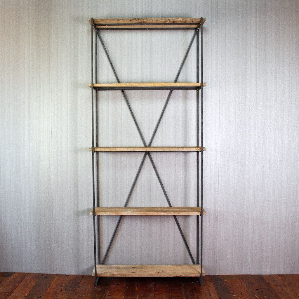 Bookcase Made Of Reclaimed Wood From 1880s Barn And Steel