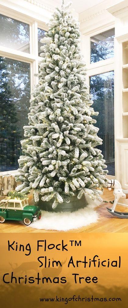 King Flock™ Slim Artificial Christmas Tree   Christmas ...