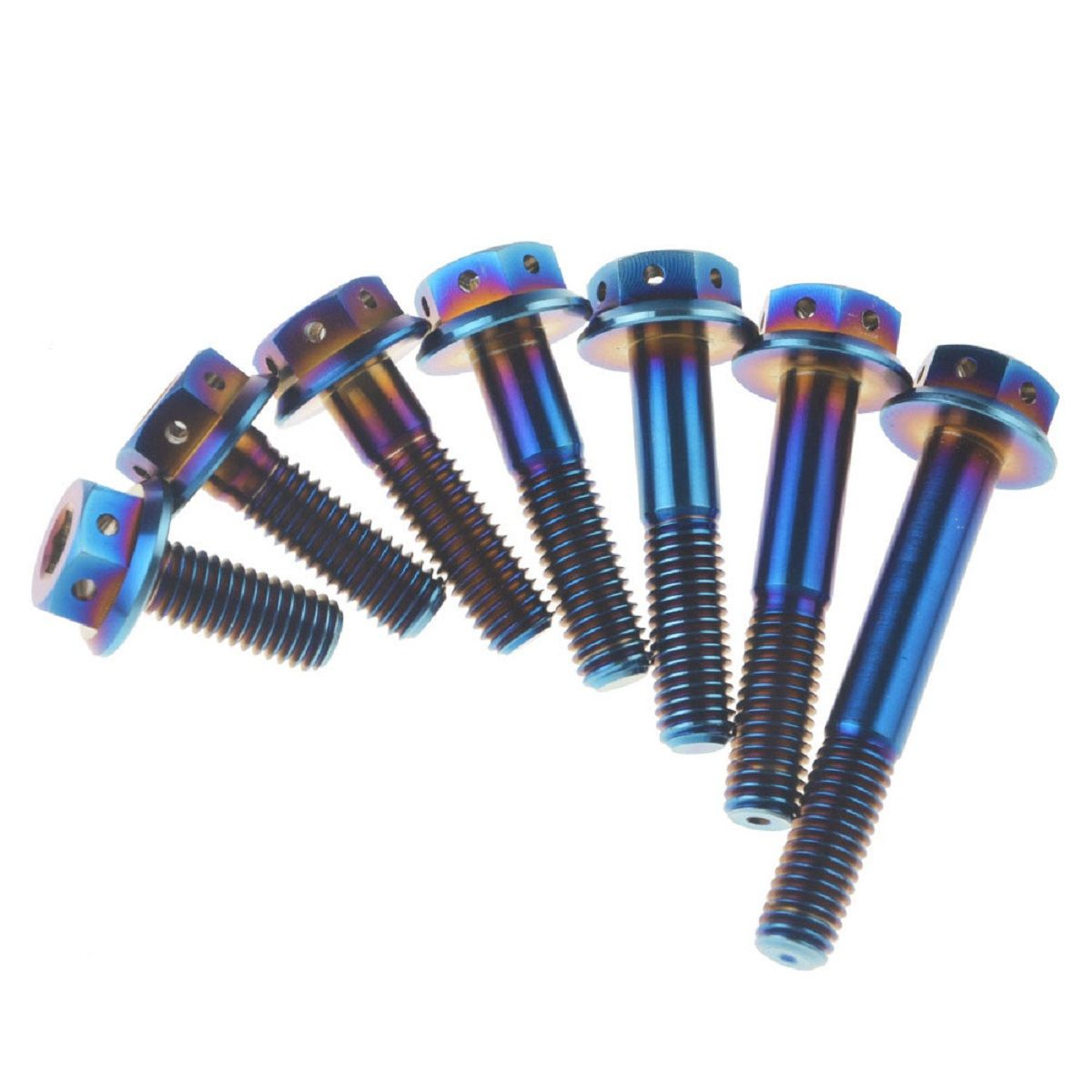 Blue M10 x 1.25 x 35 Titanium Ti Screw Bolt Socket Cap Hexagon Hex Flange Head