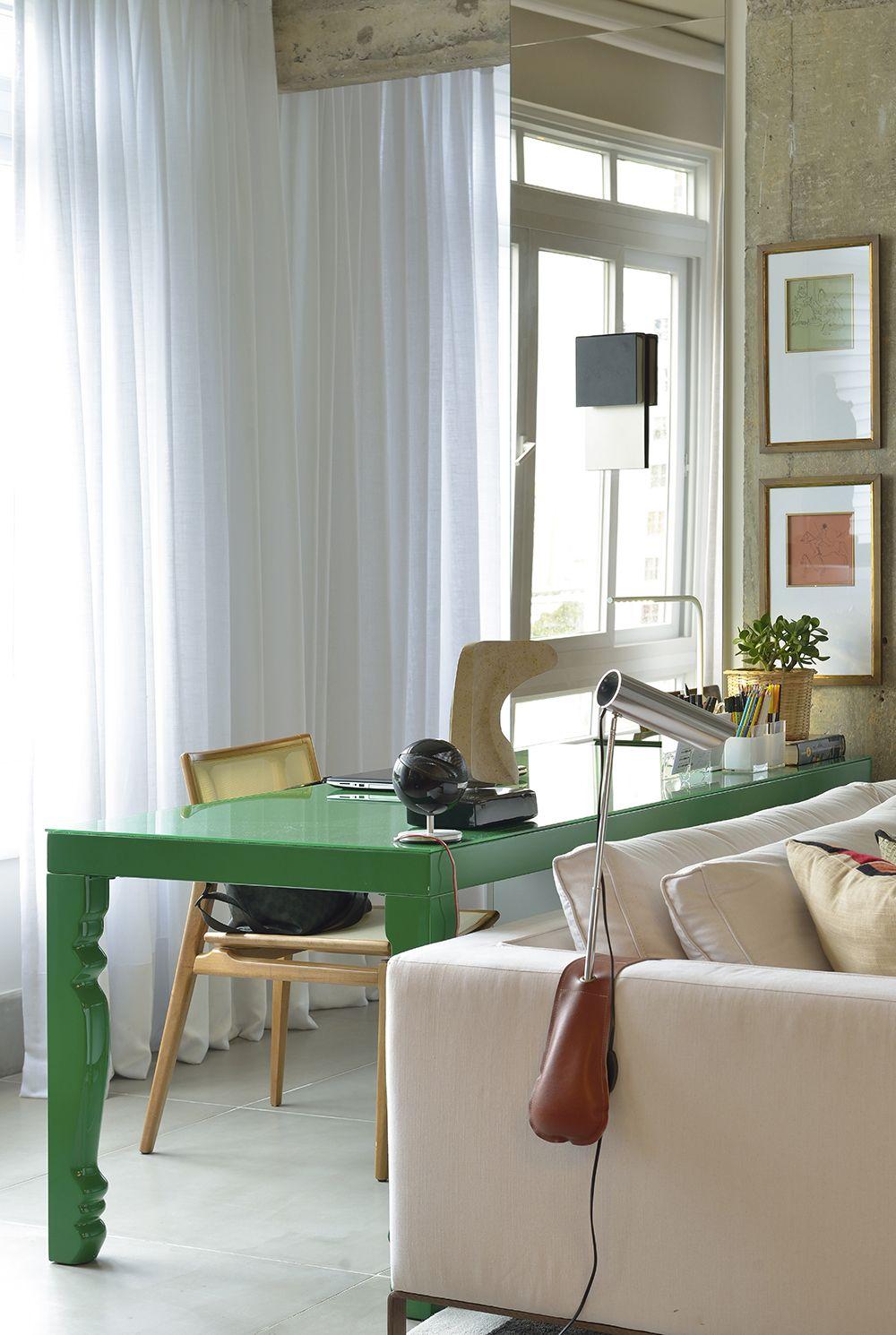 Mesa De Trabalho Verde Atr S Do Sof Home Office Pinterest