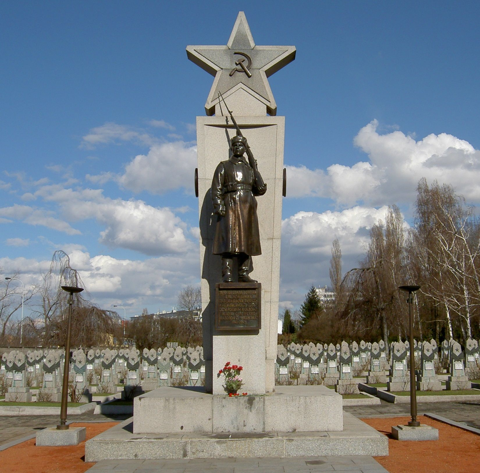 Czechoslovakia Soviet War Memorial At The Olsany Cemetery In Prague It Is The Largest Burial Ground Throughout The Czech Republi War Memorial Statue Monument