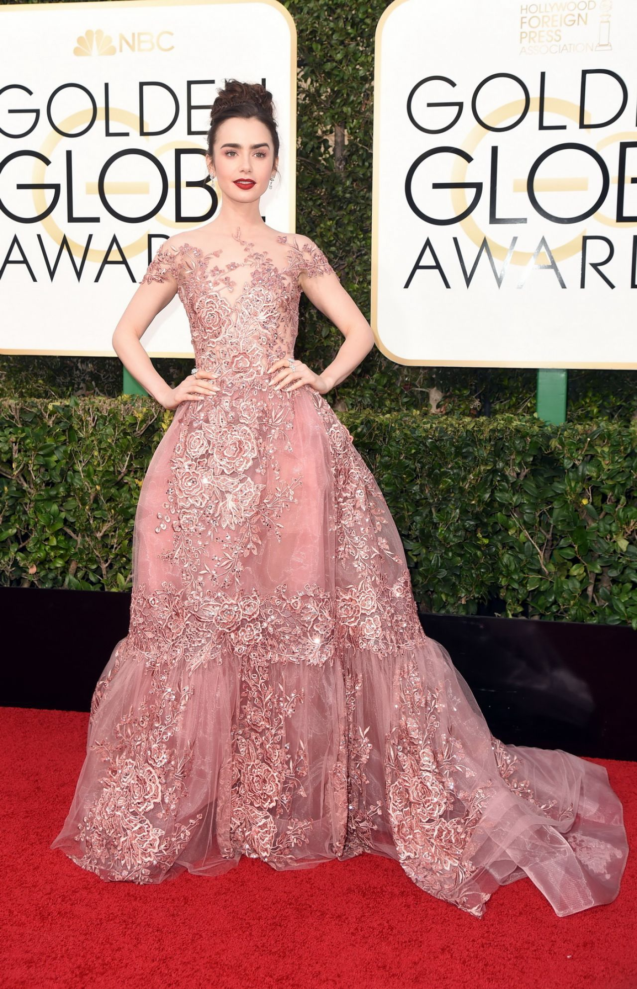 Lily Collins in Zuhair Murad Couture at 2017 Golden Globe Awards in ...