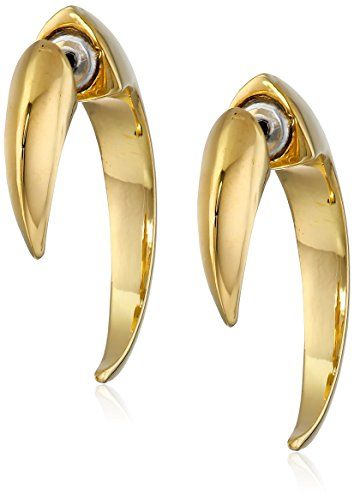Vince Camuto Gold Tone Small Horn Hoop Earrings