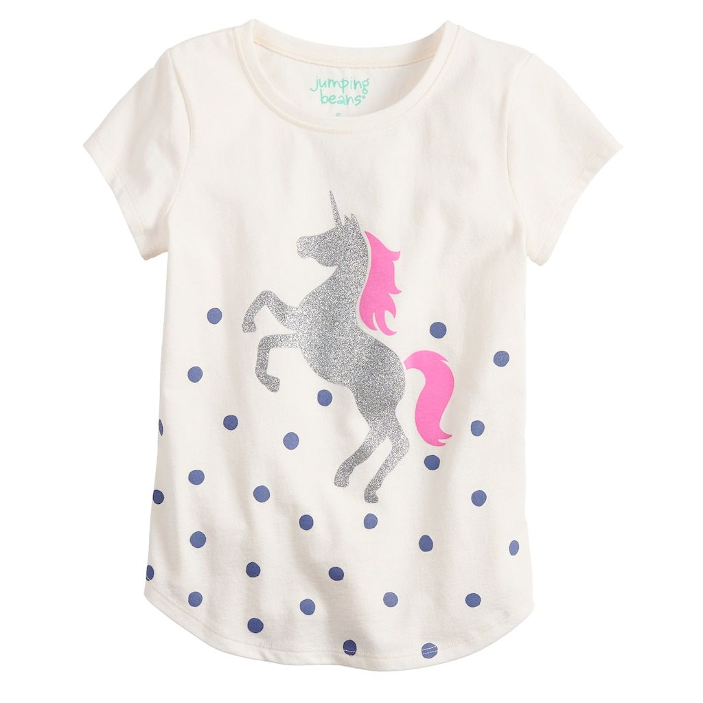 43383d7bb6a Girls 4-12 Jumping Beans® Glittery Graphic Tee | Products | Graphic ...