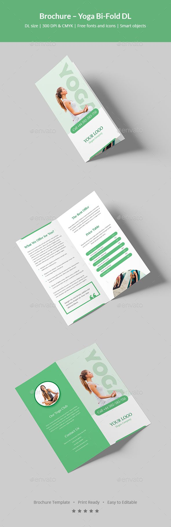 Brochure – Yoga Bi-Fold DL | Grafikdesign