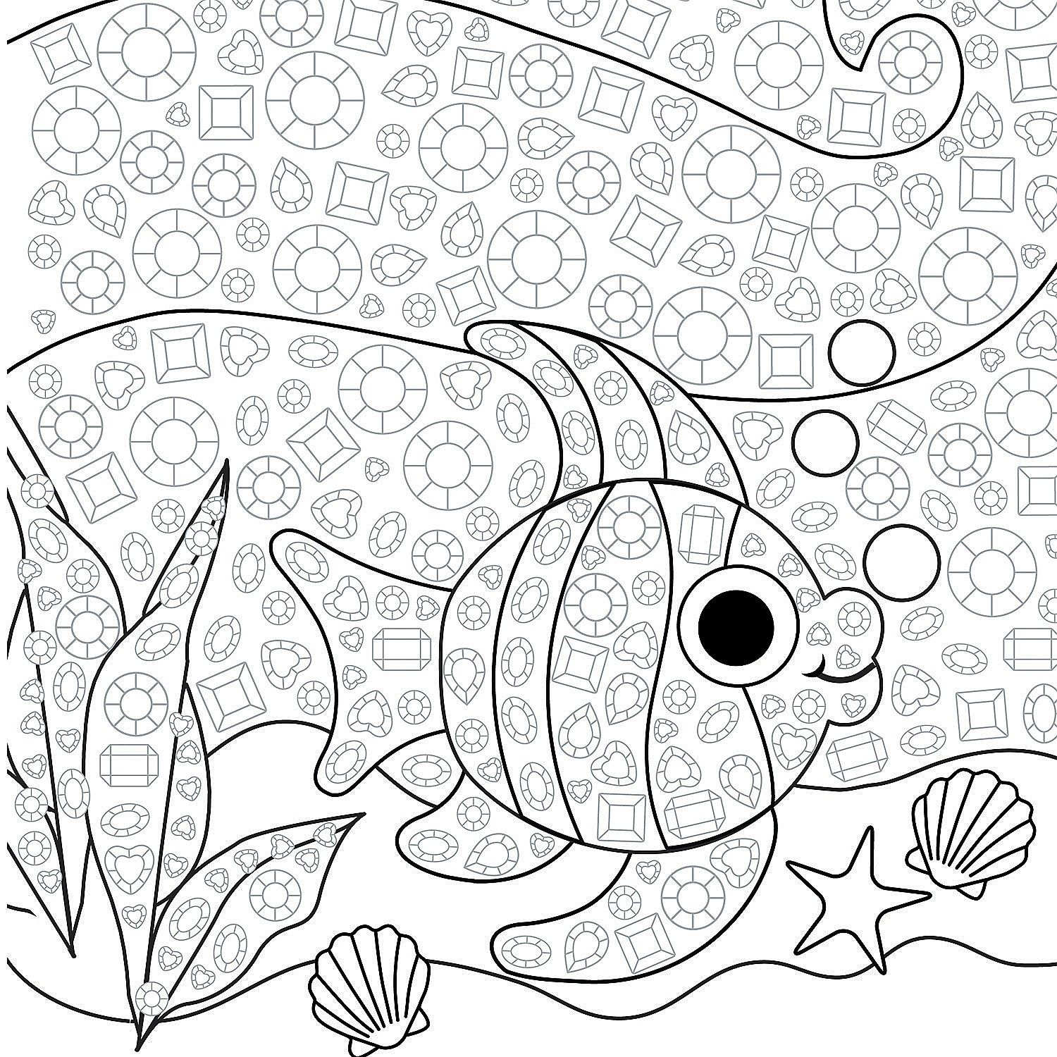 Jeweled Tropical Fish Mosaic Template