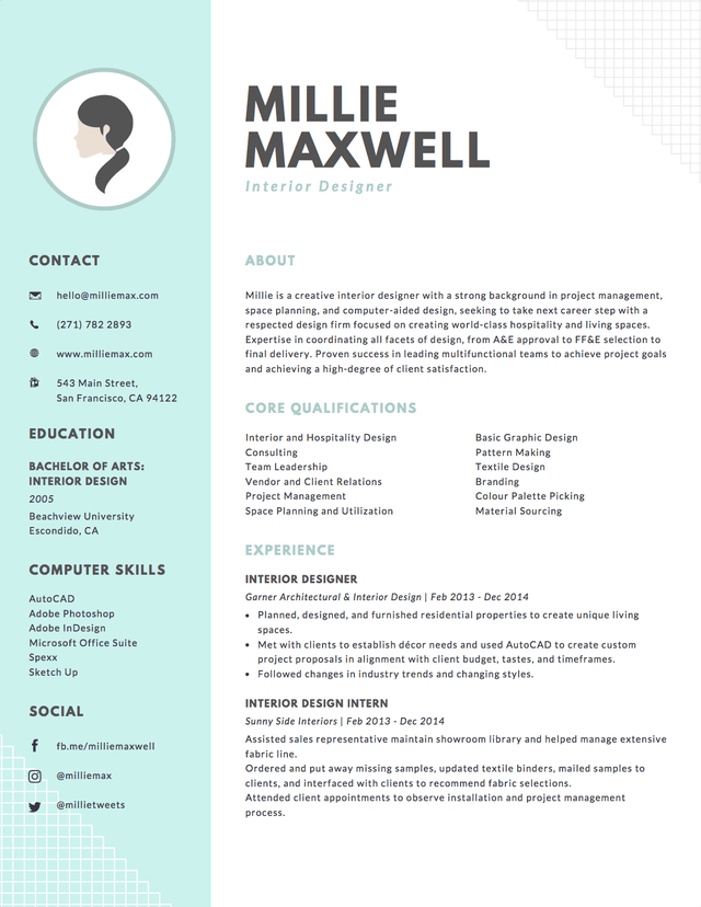 Emphasize Career Highlights On Your Resume By Using Color Strategically Graphic Design Resume Interior Design Resume Interior Design Resume Template