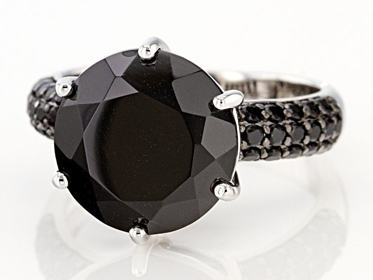 6.84ctw Round Black Spinel Rhodium Over Silver Ring. Measures Approximately 0.85