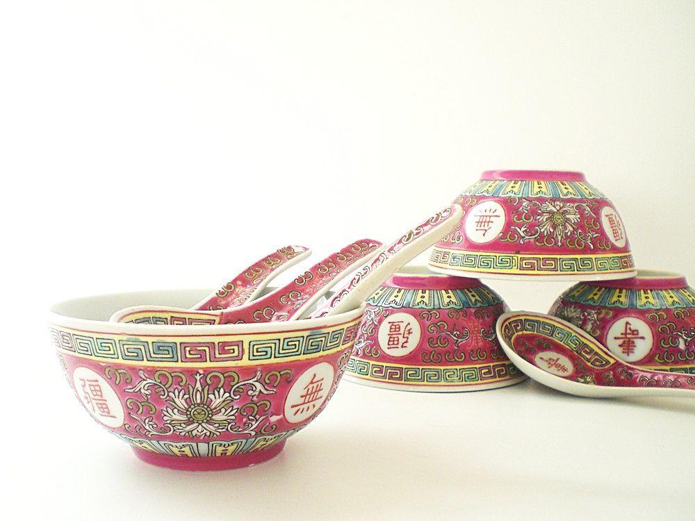 Vintage Chinese Rice Bowls Red Oriental Soup Bowl 28 00 Via Etsy Rice Bowls Bowl Bowl Designs