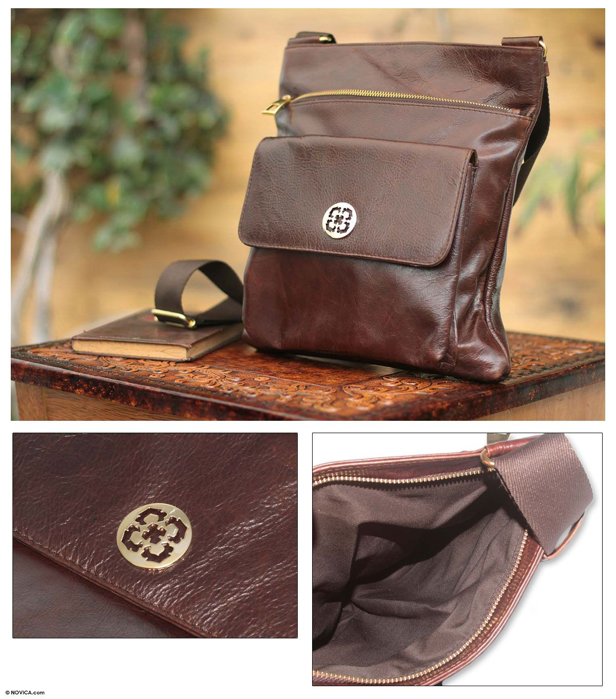 Novica Leather messenger bag, Arequipa Traveler - Brown Leather Shoulder Bag from Peru