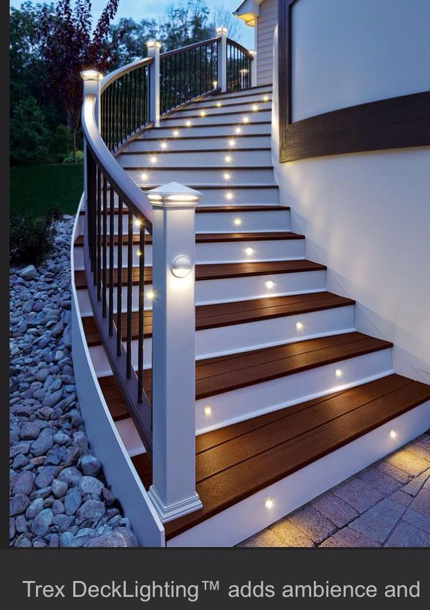 This May Work For Stairs On Garage Energy Efficient LED Stair Lights By  Trex Deck Lighting. Looks Good And Serves A Great Purpose. Led Lighting Is  Bright ...