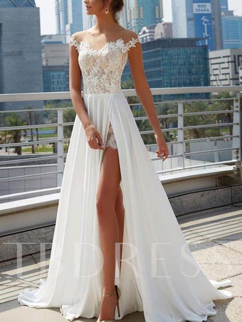 Illusion Neck Split Front Lace Beach Wedding Dress 2019 Online
