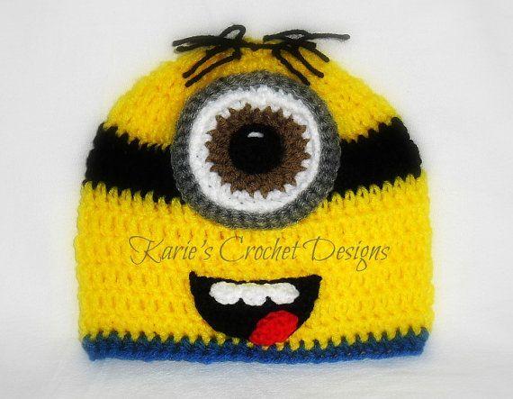 One Eyed Minion Handmade Crochet Hat Beanie Photo Prop
