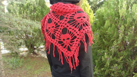 Wrap/ scarf with skulls in colors
