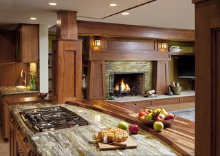 Craftsman Home - traditional - family room - milwaukee - by Johnson Design Inc Love the transition from kitchen to family room.