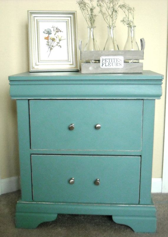 Cool Blue Nightstand With Images Shabby Chic Nightstand