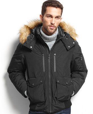 Michael Michael Kors Moss Faux Fur Trim Hooded Down Parka Coats Jackets Men Macy S Mens Outfits Winter Outfits Men Mens Winter Coat