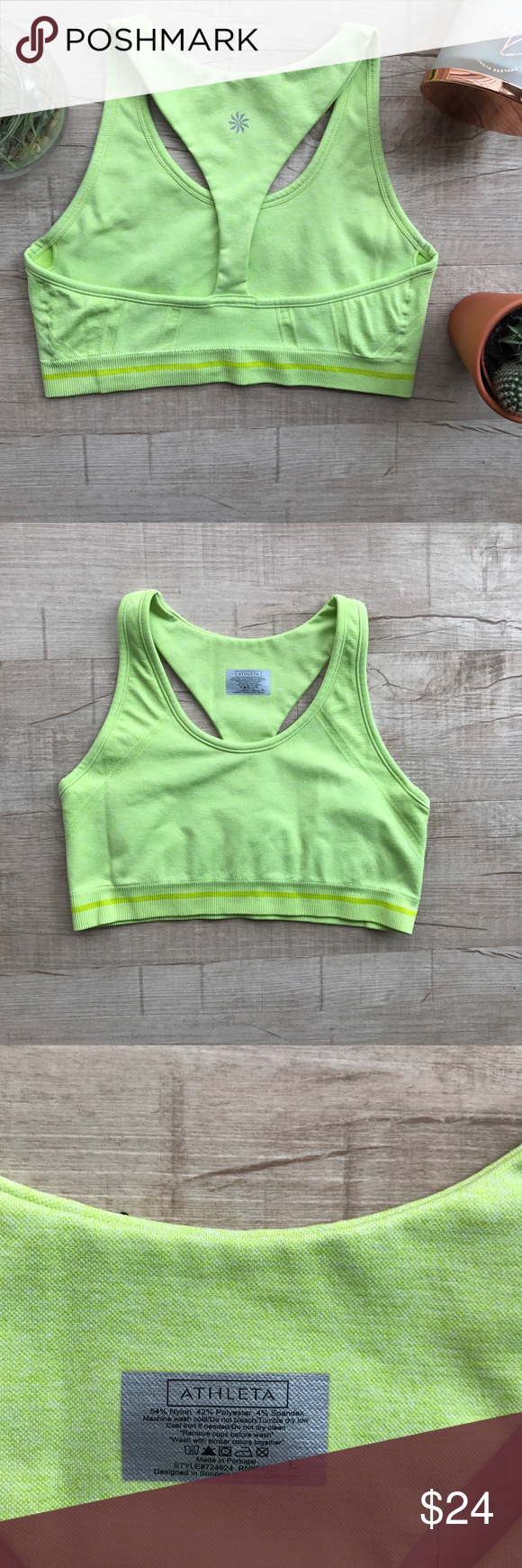 """Athleta Fastest Track Bra * lime green/bright yellow  * 54% nylon, 42% polyester, 4% spandex * bust( laid flat, on one side) - 15"""" * length - 12.5"""" * great used condition! Athleta Tops"""