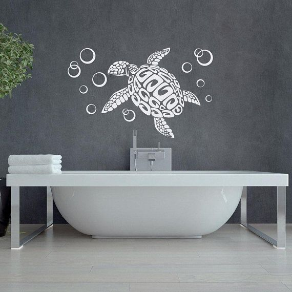 Sea Turtle With Bubbles Wall Decal Sea Animal Wall Decal Bathroom Decor Ideas Turtles Wall Decals Vinyl Stickers Animal Home Decor 232 Turtle Wall Decals Animal Wall Decals Turtle Bathroom Decor